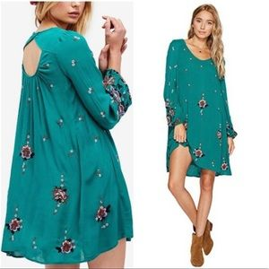 NWT Free People Oxford Embroidered Green Dress